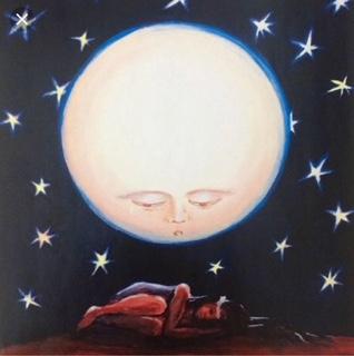 Child under the moon