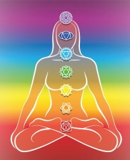 Chakras Woman Rainbow Background